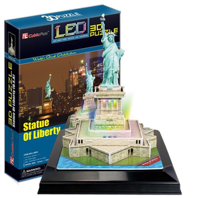 Cubic Fun Statue of Liberty USA - 37 Piece  3D Puzzle with Base & LED Unit