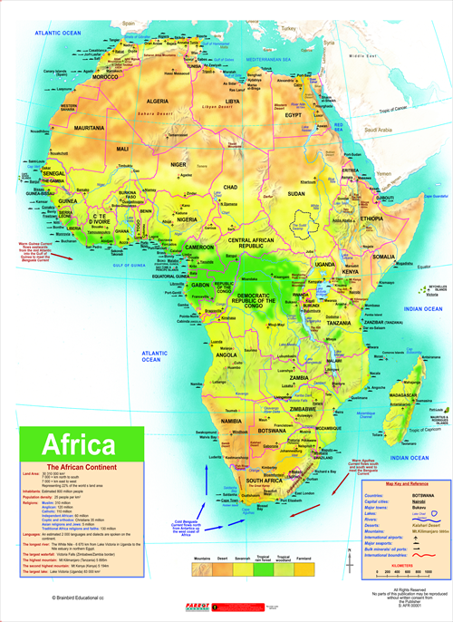 Parrot Products Parrot Magnetic Wall Map Africa General
