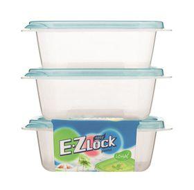 Lock and Lock - EZ Lock - 3 Piece Rectangular Container Set - Blue - 270ml