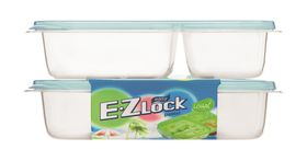 Lock and Lock - EZ Lock - 2 Piece Rectangular Container Set With Built-In Dividers - Blue - 965ml