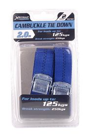 2 Pack New Cam Buckle Tie Down Straps 25mm x 2.5 Metres