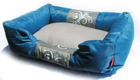 Dogs Life - Waterproof Modern Swirl Summer Bed - Blue - Small