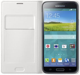 Samsung S5 Metallic Flip Wallet - White