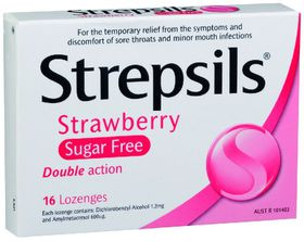 Strepsils Strawberry Sugar Free Throat Lozenges - 16