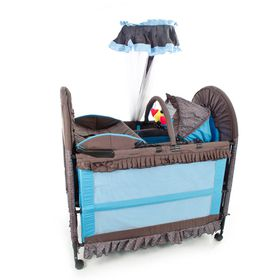 Chelino - 6-in-1 Cot - Brown & Blue