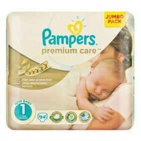 Pampers - Premium Care 94 Nappies - Size 1 Jumbo Pack