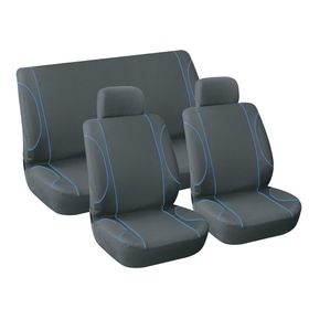 Stingray - Monaco 6 Piece Car Seat Cover Set - Black and Blue