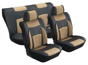 Stingray - Majestic Quilted PU 8 Piece Car Seat Cover Set - Black and Taupe