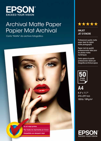 Epson Archival Matte 189gsm Paper - A4 (50 Sheets)