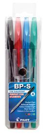 Pilot BP-S Fine Ballpoint Pens - Wallet of 4 Colours