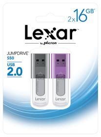 Lexar JumpDrive S50 16GB USB Flash Drive Twin Pack