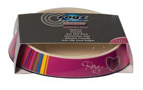 Rogz - Fishcake Melamine Cat Bowl - Pink Candystripe Heart Design