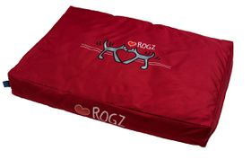 Rogz - 83cm x 56cm x 10cm Dog Bed - Red Heart on Red