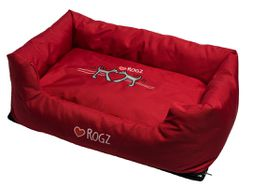 Rogz - 88cm x 55cm x 26cm Dog Bed - Red Heart on Red