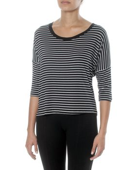 Slick Women's Lola Classic Striped Box Top Black and White
