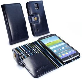 Tuff-Luv Alston Craig Vintage Genuine Leather Wallet Case Cover for Samsung Galaxy S5 - Royal Blue