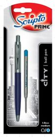 "Scripto Prime ""City"" Blue Barrel Ballpoint Pen"