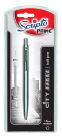 "Scripto Prime ""City Steel"" Ballpoint Pen Medium Black Ink"