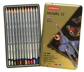 Derwent Metallic Pencils - Tin of 12