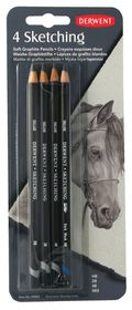 Derwent Sketching Soft Graphite Pencils - Blister of 4