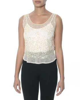 Traffic Lux Hand Beaded Indiana Vest - Blush