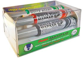 Pentel Maxiflo 6.0mm Bullet Tip Whiteboard Marker Magnetic Duster Set
