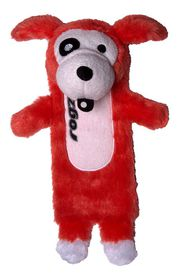 Rogz - Thinz Small 20cm Plush Refillable Squeak Dog Toy - Red