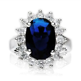 Miss Jewels - 5.48ct Simulated Sapphire and Diamond Royal Engagement Ring