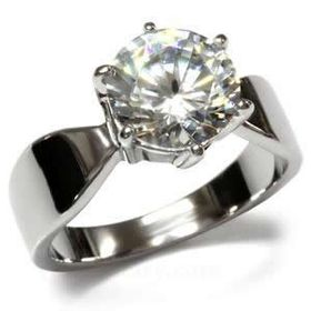 Miss Jewels - 3.00ct CZ Stainless Steel Engagement Ring
