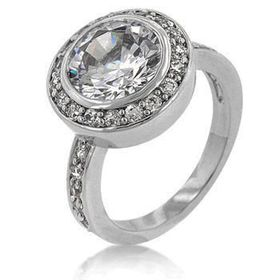 Miss Jewels - White Gold Rhodium Bonded Clear CZ Engagement Ring in Silvertone