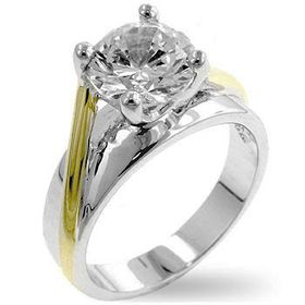 Miss Jewels - Tutone Solitaire Engagement Ring