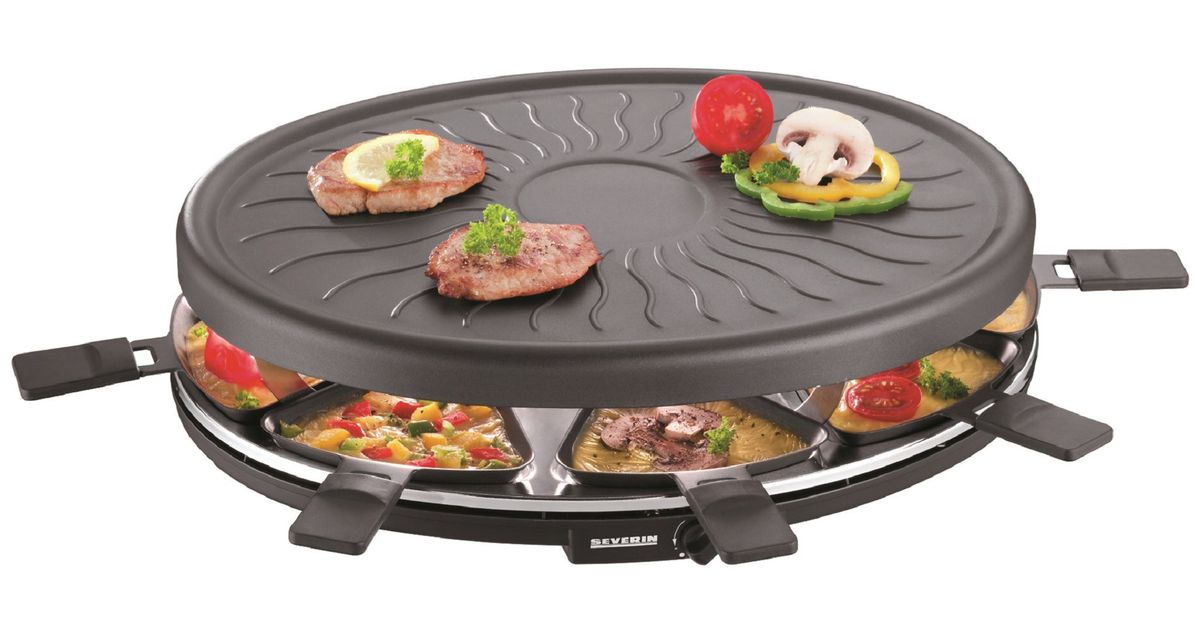 Severin - 1100W Raclette Party Grill - Black ...