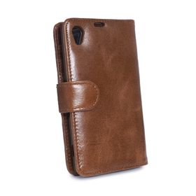 Tuff-Luv Vintage Leather Wallet Case-Cover for Sony Xperia Z3 Compact - Brown