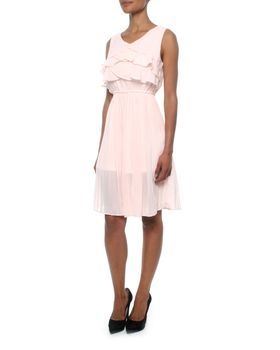 Eve Emporium Multi Layer Chiffon Ruffle Midi Dress in Pink