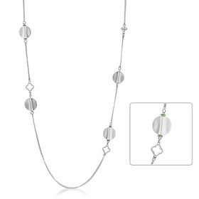 Miss Jewels - 925 Sterling Silver Plated Peridot CZ Necklace