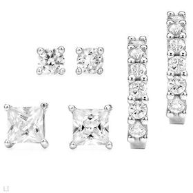 Miss Jewels - Tripset Earrings in 925 Sterling Silver- 1.93ctw Cubic Zirconia