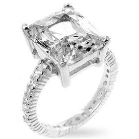 Miss Jewels - 5ct Clear Cubic Zirconia Engagement Ring in 925 Sterling Silver