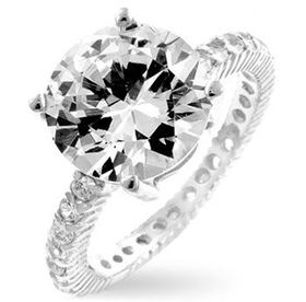 Miss Jewels - 2ct Solitaire Engagement Ring in 925 Sterling Silver