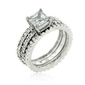 Miss Jewels - 1.55ctw Cubic Zirconia 3 Piece Bridal Set