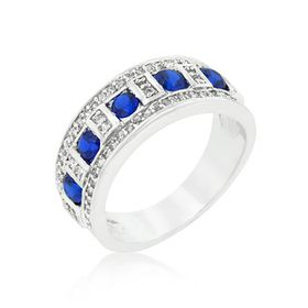 Miss Jewels - 6.8ctw Simulated Sapphire & Diamond Costume Wedding Ring