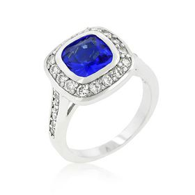 Miss Jewels - 2ct Simulated Sapphire & Diamond Engagement Style Ring