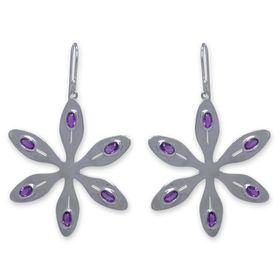 The Jeweller's Florist Agapanthus Earrings - Purple Amethyst - Sterling Silver