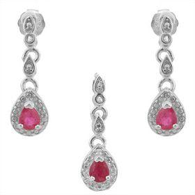 Eanraic Elegant 0.51cts Genuine Ruby and Diamond Set