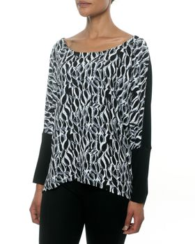 Fate Banksia Top in Banksia Black and White Print