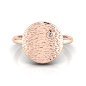 Why Jewellery Hammered Diamond Ring - Rose Gold Plated