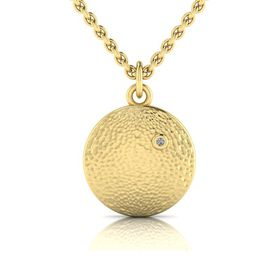 Why Jewellery Hammered Diamond Pendant and Chain - Yellow Gold Plated