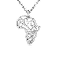 Why Jewellery Map Diamond Pendant and Chain - Silver