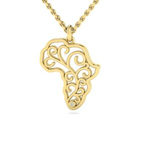 Why Jewellery Map Diamond Pendant and Chain - Yellow Gold Plated