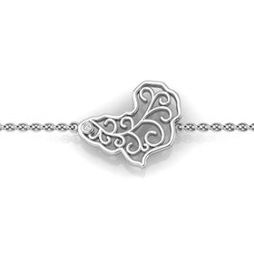 Why Jewellery Map Diamond Map Bracelet - Silver