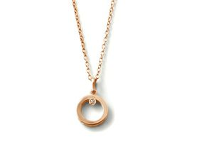 Why Jewellery Round Diamond Pendant and Chain - Rose Plated Gold